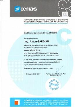 Gardian certifikát interný auditor