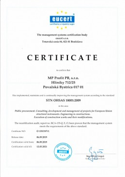 certifikát STN OHSAS 18 001 2009